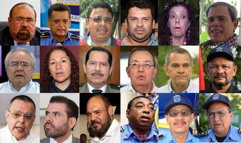 Los 18 funcionarios orteguistas sancionados